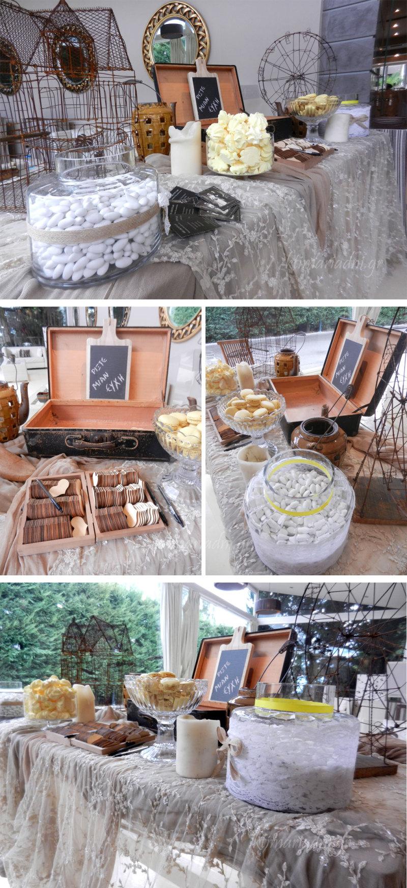 Τραπέζι ευχών σε στυλ vintage και ρομαντικό
