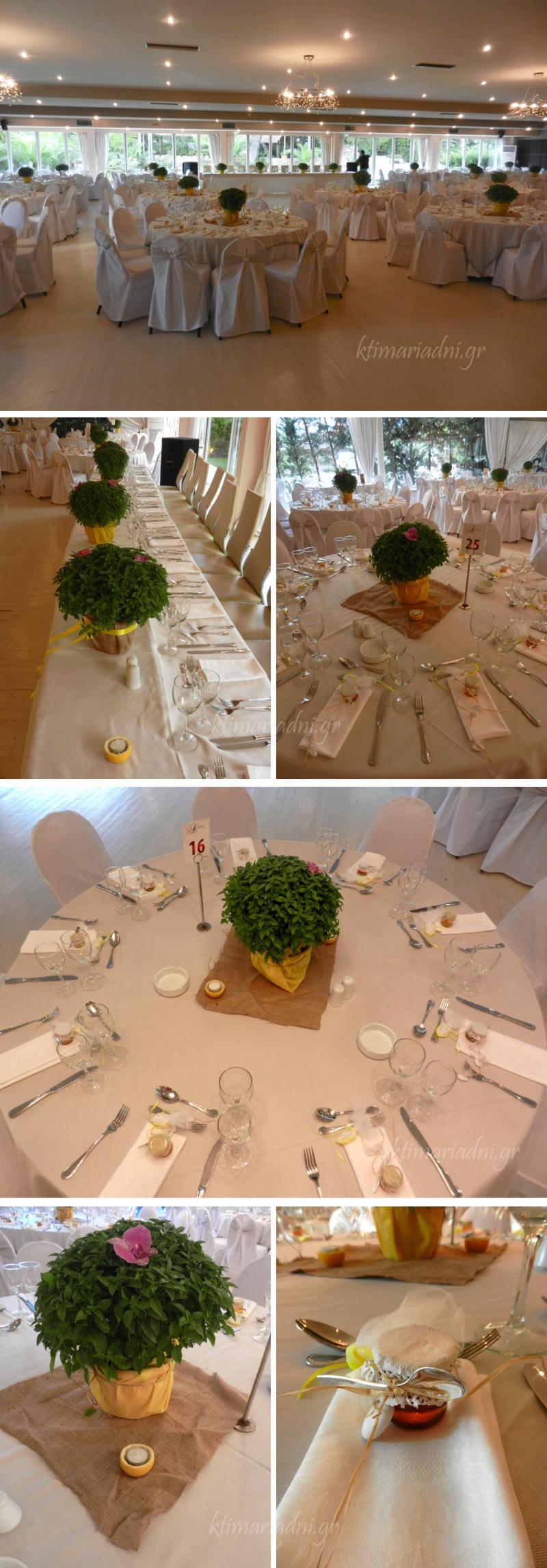 Στολισμένα τραπέζια και μπομπονιέρες γάμου
