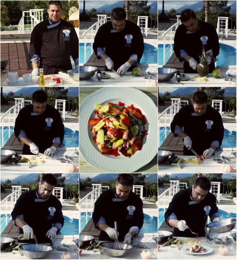 Βήμα - βήμα ο Chef Κώστας Καλαμούκης, μας δείχνει πώς να φτιάξουμε την σαλάτα με τα τροπικά φρούτα και τις γαρίδες