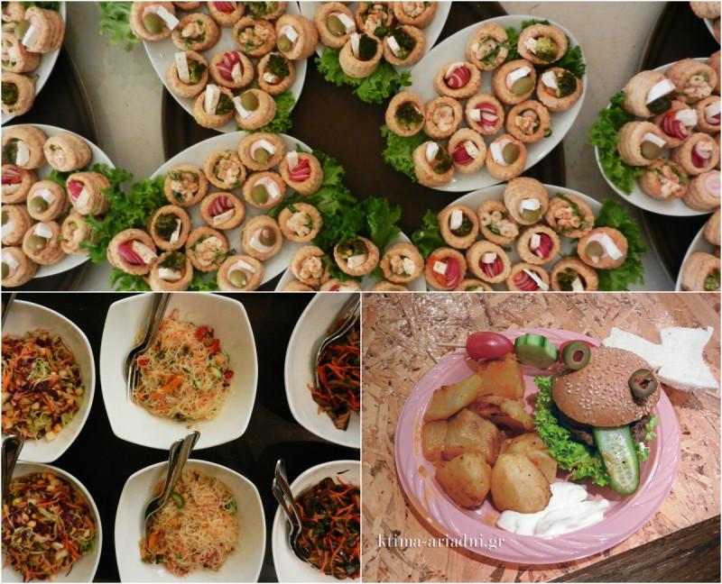 Άφθονο φαγητό, με ιδιαίτερες γεύσεις και πιάτα, υπήρχε πάνω σε όλα τα τραπέζια. Για τα παιδιά ετοιμάστηκαν παιχνιδιάρικα και γευστικότατα burgers
