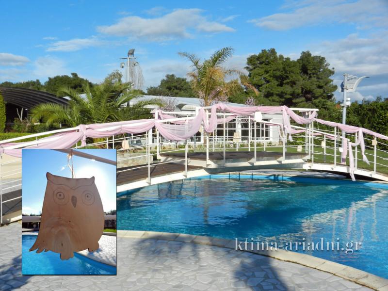 Στολίστηκε και η πισίνα, στα ροζ. Και κρεμάστηκαν ξύλινες κουκουβάγιες σχεδιασμένες στο χέρι
