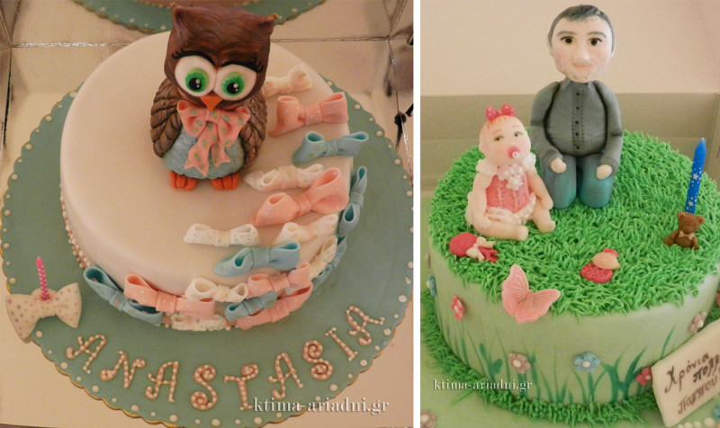 Η τούρτα της Αναστασίας, αριστερά είχε φυσικά θέμα την κουκουβάγια. Υπήρχε όμως μια ακόμα τούρτα την ημέρα εκείνη. Είχε γενέθλια και ο προ-πάππος της!  Τι ευτυχία!