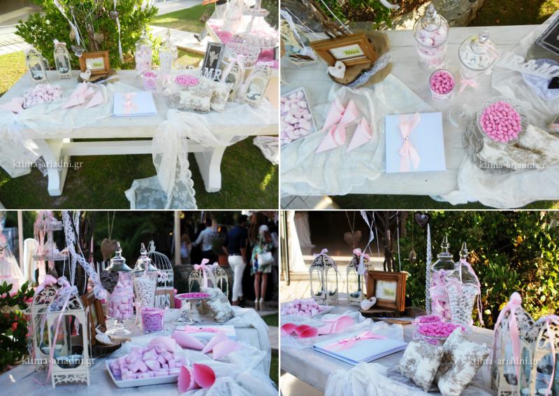 Λεπτομέρειες από το τραπέζι ευχών γάμου, που επιμελήθηκε το ανθοπωλείο Κήπος