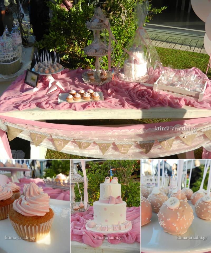 Το τραπέζι ευχών για τη βάπτιση της Ραφαέλας σε ροζ αποχρώσεις, με την επιμέλεια του ανθοπωλείου Κήπος