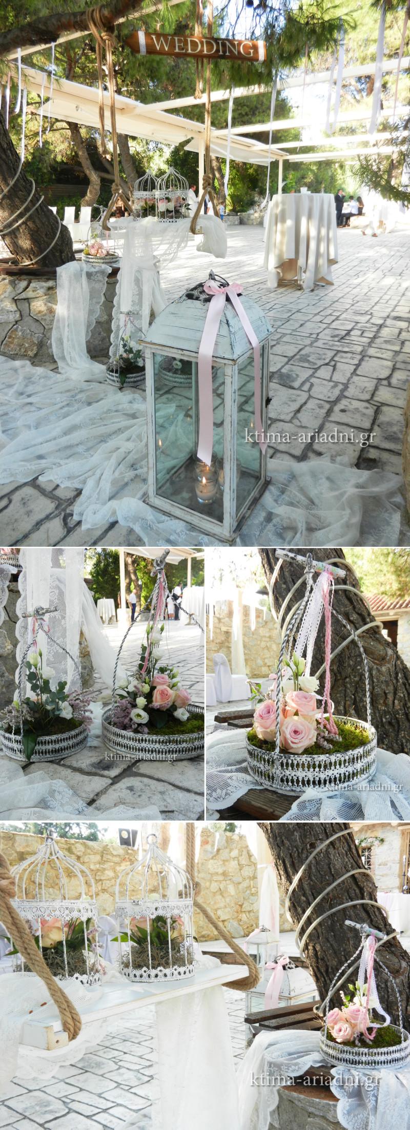 Το πεύκο έξω από την εκκλησία του χώρου Φαιστός διακοσμήθηκε ρομαντικά από το ανθοπωλείο Κήπος. Statements... η κούνια και οι vintage δίσκοι σερβιρίσματος