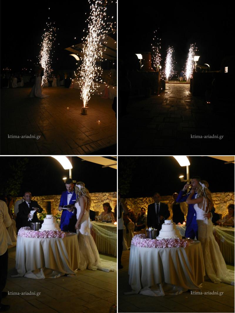 Στιγμιότυπα από την είσοδο του ζευγαριού, που έγινε με συνοδεία πυροτεχνημάτων, καθώς και από την κοπή της γαμήλιας τούρτας και του πρώτου χορού