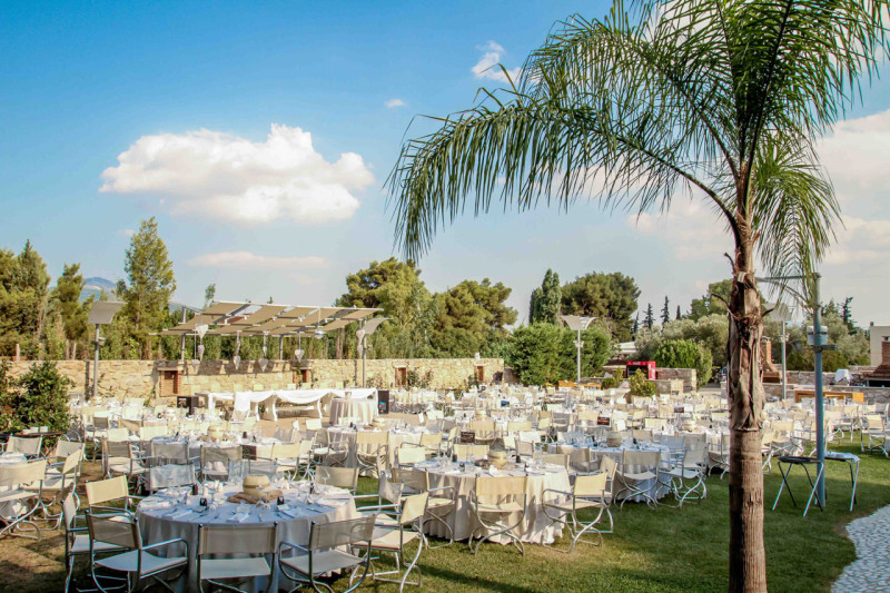 Γενική άποψη του χώρου Φαιστός, όπως προετοιμάστηκε για τη δεξίωση γάμου της Σοφίας και του Κωνσταντίνου