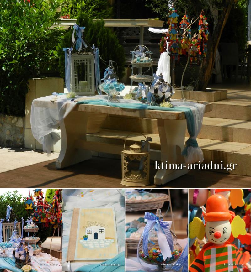 Εικόνες από το στολισμένο τραπέζι με το βιβλίο ευχών για τη βάπτιση του Δημήτρη στο κτήμα Αριάδνη και στον χώρο Κνωσός