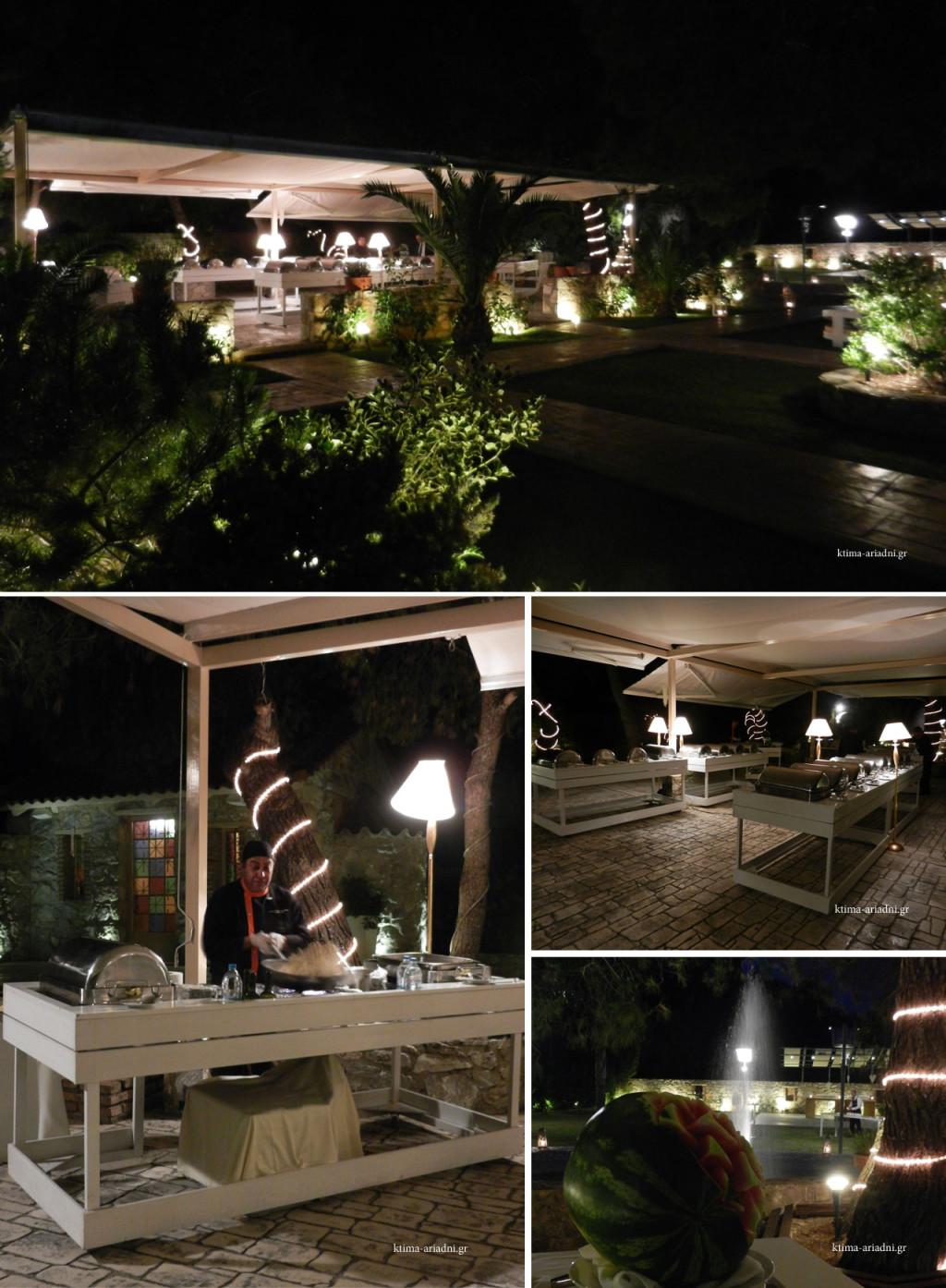 Ο Executive Chef Κώστας Καλαμούκης εν ώρα δημιουργίας, με φόντο το πέτρινο εκκλησάκι του Αγ. Γεωργίου. Ο φωτισμός του κήπου και το υγρό στοιχείο του συντριβανιού συμβάλουν στην θετική αύρα του σημείου