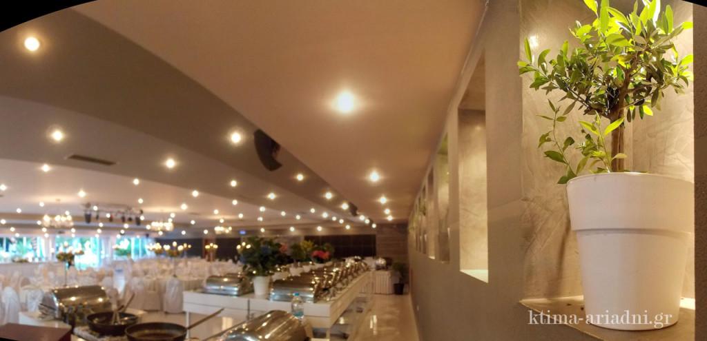 Σε αυτή την πλευρά της αίθουσας, στήνονται συνήθως οι μπουφέδες και τόσο το γήινο χρώμα του τοίχου, όσο και οι γλάστρες με τις ελιές στα φωτισμένα σημεία του, τονίζουν την ισχυρή σχέση του εσωτερικού χώρου με το εξωτερικό φυσική περιβάλλον