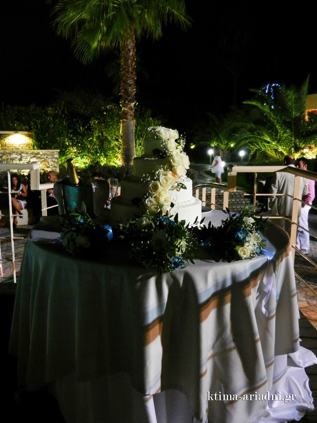 Η γαμήλια τούρτα είναι έτοιμη στη θέση της, πάνω στο γεφυράκι της πισίνας και οι καλεσμένοι αναμένουν την άφιξη του νιόπαντρου ζευγαριού και του μικρού Ηλία