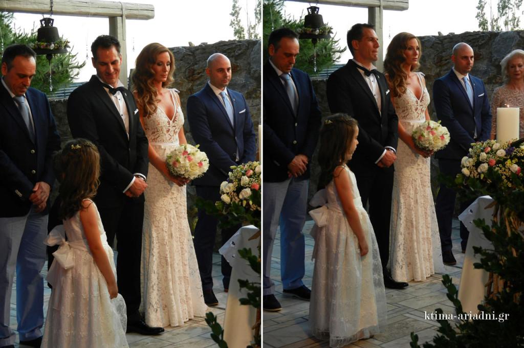Ο γάμος τελέστηκε στο πετρόχτιστο εκκλησάκι του Αγ. Γεωργίου στο χώρο Φαιστός του κτήματος Αριάδνη