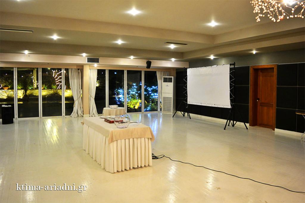 Ο βιντεοπροβολέας και η οθόνη τοποθετήθηκαν στη μεριά της αίθουσας και η εκδήλωση ξεκίνησε με τη συμβολή τους.