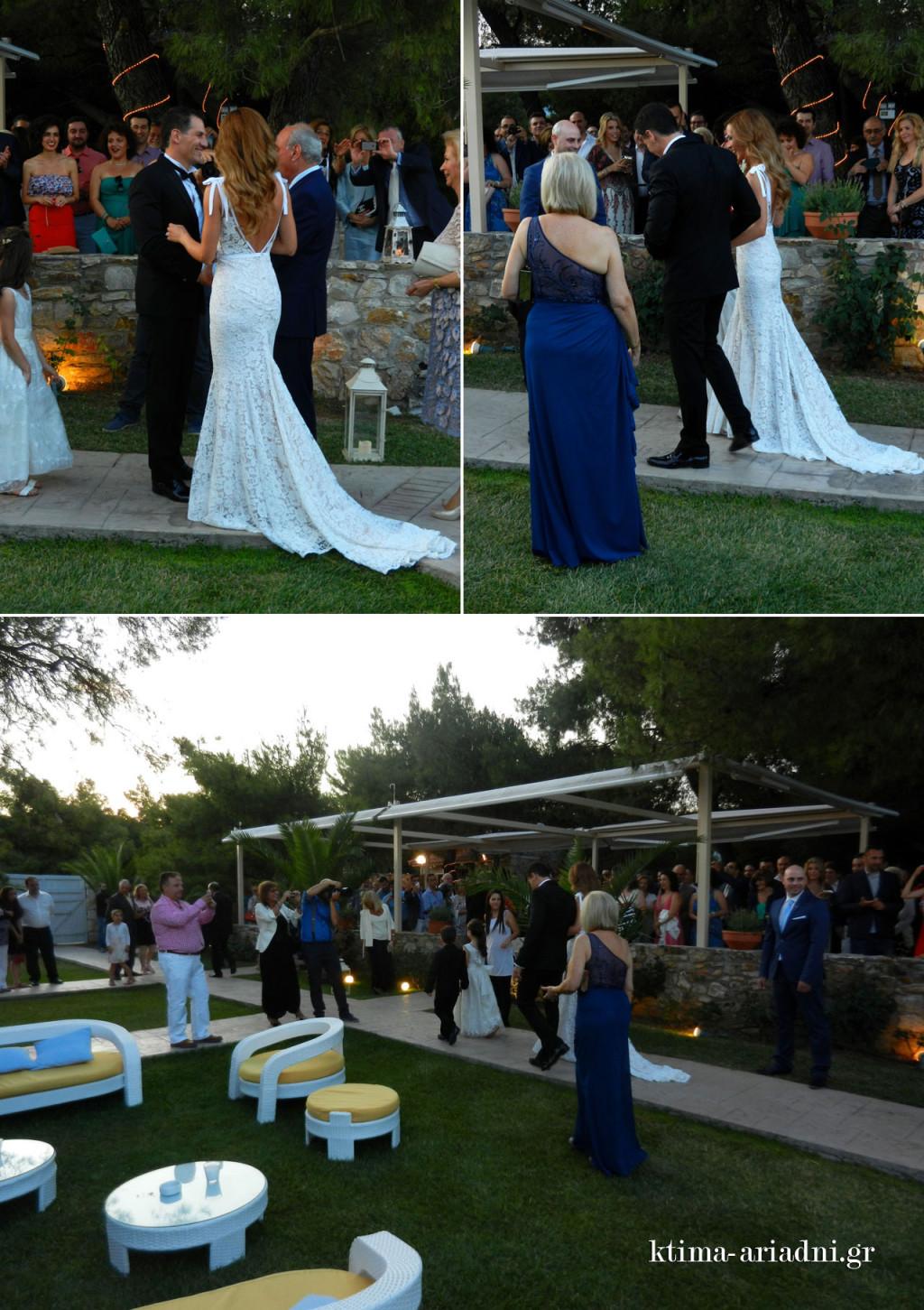 Ο πατέρας της νύφης παραδίδει συγκινημένος την κόρη του στον γαμπρό και οι δυο τους κατευθύνονται προς την εκκλησία