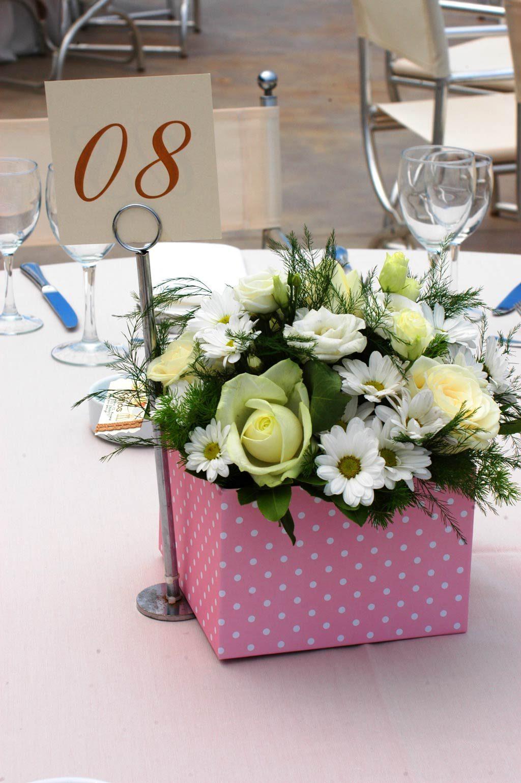 Για την κεντρική διακόσμηση των τραπεζιών χρησιμοποιήθηκαν όμορφα κουτιά γεμάτα με φρέσκα λουλούδια. Ροζ και λευκό σε πουά σχέδιο ήταν τα κουτιά στα μισά τραπέζια για το γλυκό μας κοριτσάκι