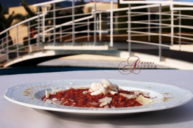Ριζότο με ζωμό από παντζάρια στο κτήμα Αριάδνη