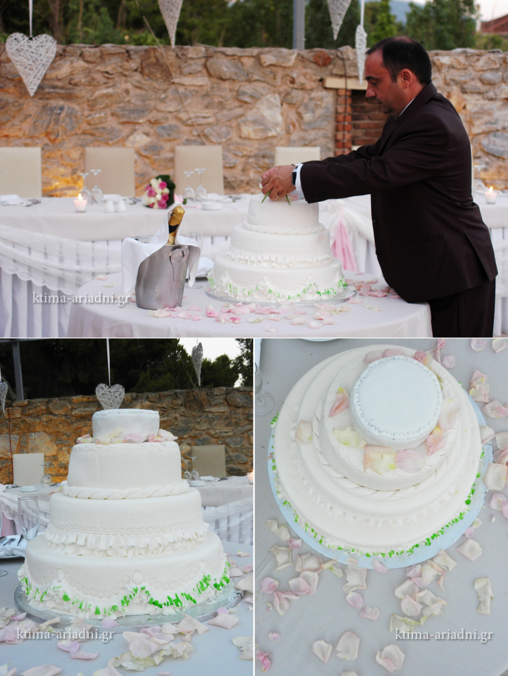 Η γαμήλια τούρτα έλαβε τη θέση της στο τραπέζι μαζί με τη σαμπάνια και δέχθηκε τη φροντίδα του Maitre στις μικρές λεπτομέρειες