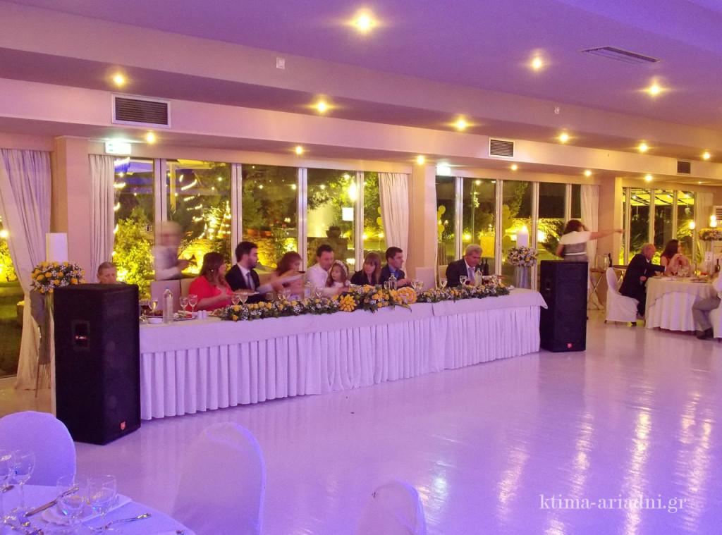 Το νυφικό τραπέζι έχει ως φόντο το καταπράσινο περιβάλλον των κήπων. Μπροστά του έχει ελεύθερο χώρο, ο οποίος σε λίγο να γεμίσει με ανθρώπους που χορεύουν, και φυσικά όλα τα τραπέζια των καλεσμένων