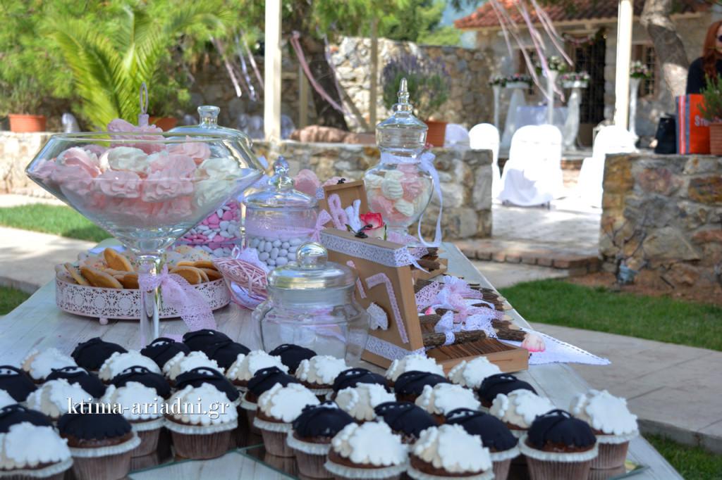 Πολλά γλυκά κεράσματα στο τραπέζι των ευχών και τα παιδιά τα ευχαριστήθηκαν με την ψυχή τους. Τα cupcakes με το νυφικό και το κοστούμι κέρδισαν τις εντυπώσεις από το πρώτο λεπτό της εμφάνισής τους