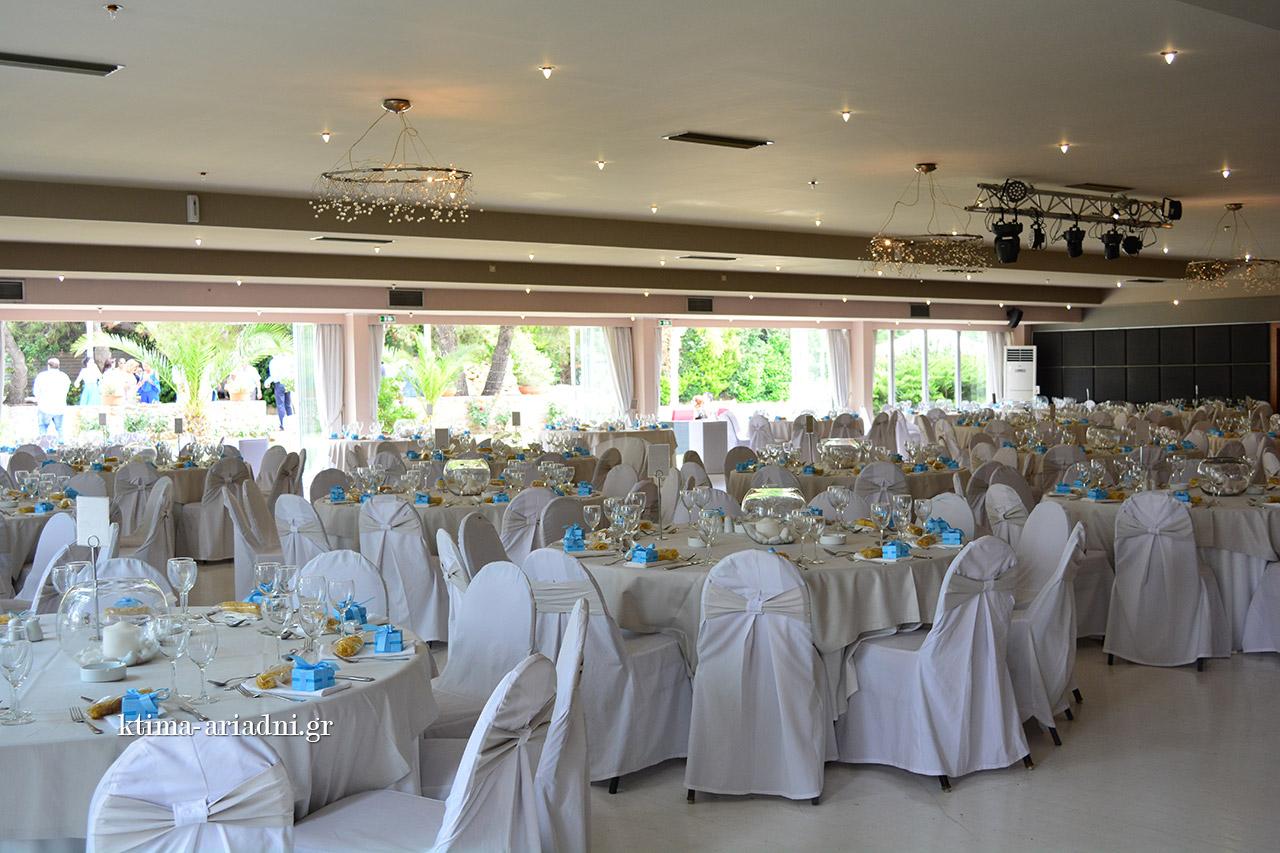 Υπαίθριος χώρος Φαιστός είναι χωρητικότητας 450 ατόμων για καθιστό γεύμα και 1500 ατόμων για εκδήλωση όρθιου κοκτέηλ Η χωρητικότητα της αίθουσας είναι 450 ατόμων για καθιστό γεύμα και 600 ατόμων για εκδήλωση όρθιου κοκτέηλ.