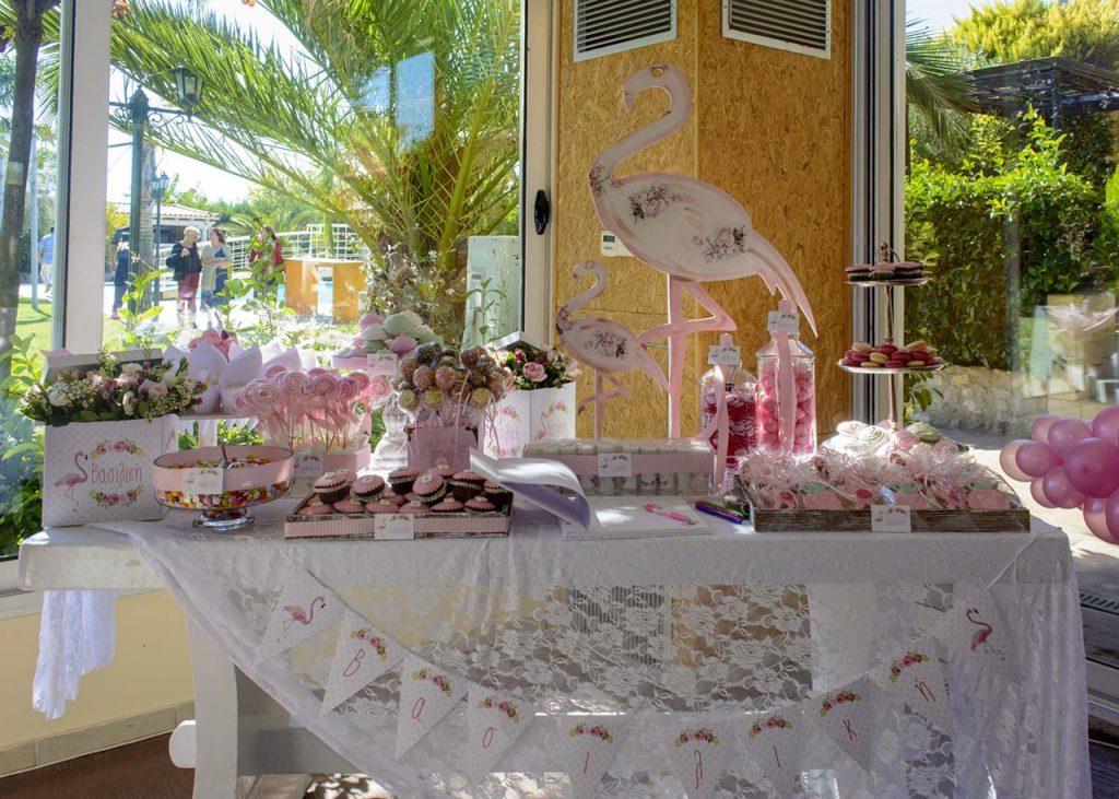 τραπέζι ευχών ροζ φλαμίνγκο