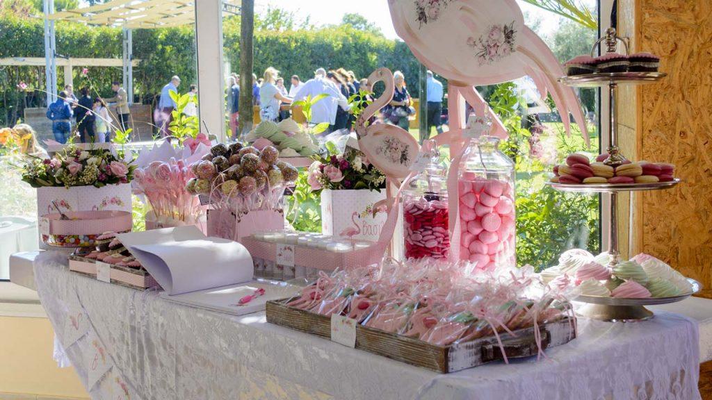 τραπέζι ευχών candy bar ροζ φλαμίνγκο