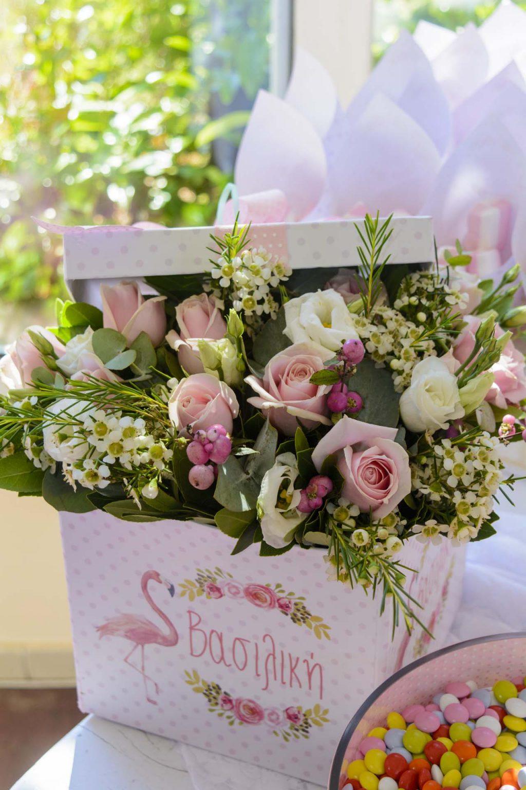 τραπέζι ευχών ροζ φλαμίνγκο λεπτομέρειες