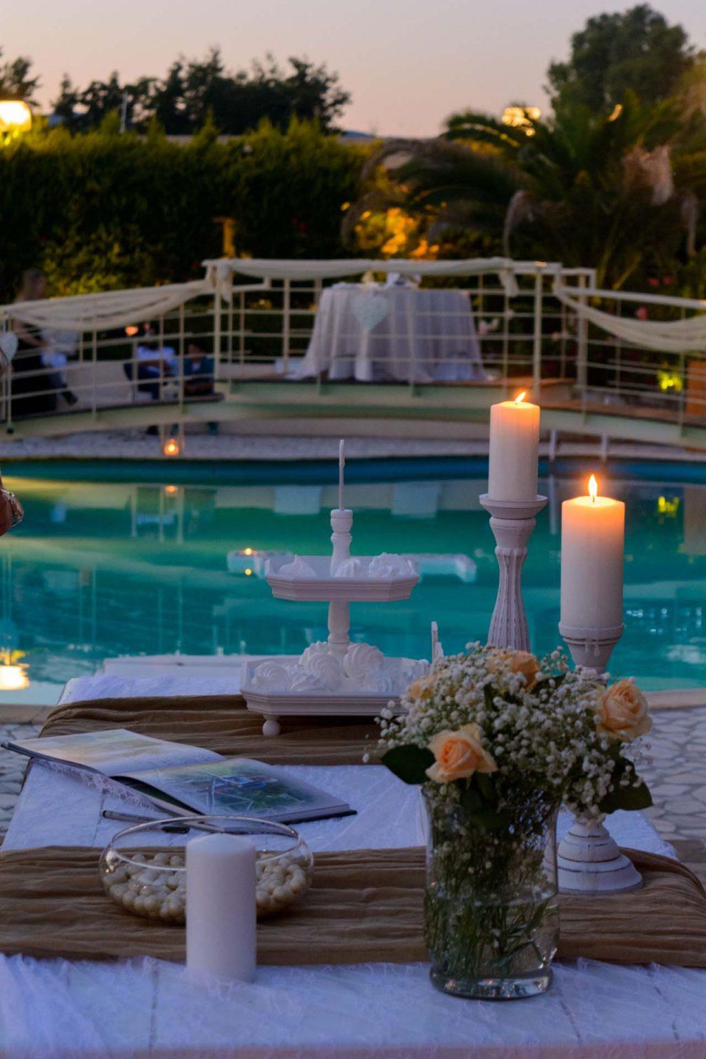 Τραπέζι ευχών με φόντο την πισίνα